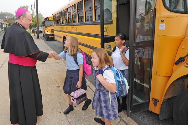 Bishop Sullivan welcomes school students
