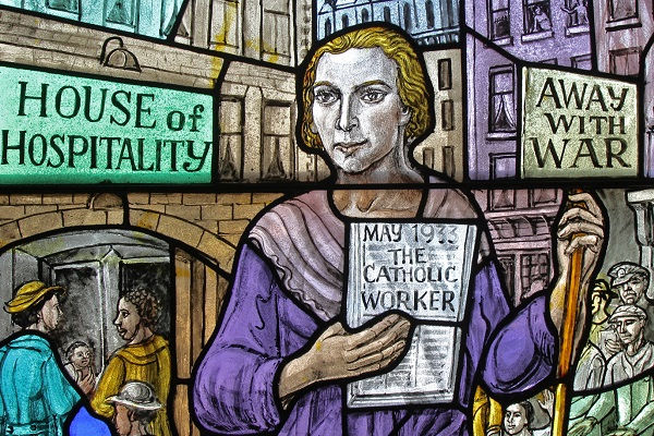 Dorothy Day, co-founder of the Catholic Worker Movement and its newspaper, The Catholic Worker, is depicted in a stained-glass window at Our Lady of Lourdes Church in the Staten Island borough of New York. (CNS photo/Gregory A. Shemitz) See DAY-SAINTHOOD-CAUSE-REACT April 25, 2016.